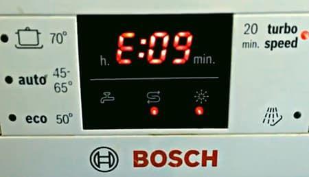 Ошибка Е09 в посудомоечной машине Bosch