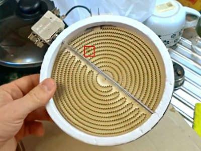 Сгорела спираль ТЭНа конфорки