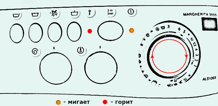 Код ошибки F05 на стиральной машине Аристон без дисплея (Ariston Margherita)