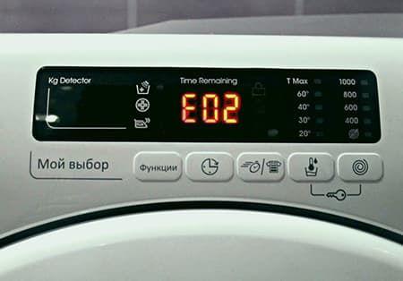 Ошибка E02 в стиральной машине Candy