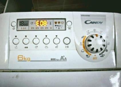 Ошибка E08 в стиральной машине Канди