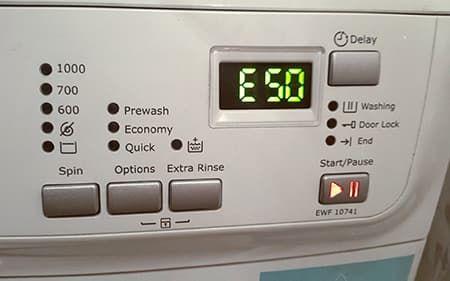 Ошибка Е50 в стиральной машине Electrolux
